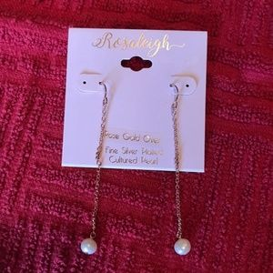 Rose Gold over Fine Silver Cultured Pearl Earrings